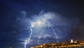 The images show an intense storm cell, characterized by many bolts of lightning.