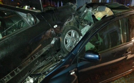 Wrecked: The 18-year-old driver took the car without consent but no one was injured, police said.
