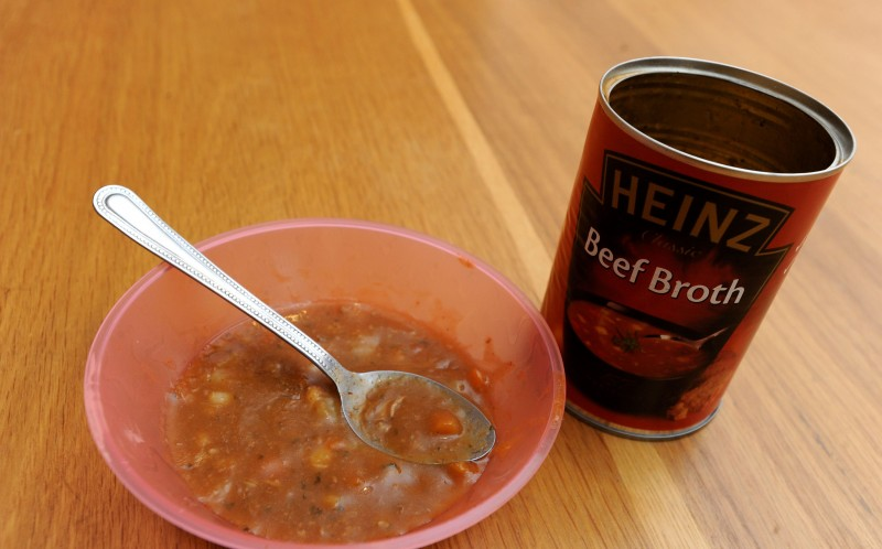 Mum Clare bought the 400g tin of Heinz beef broth from her local shop