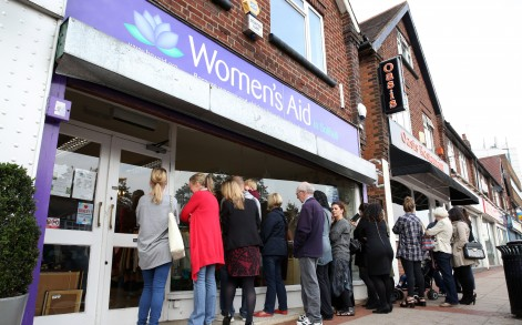 Bargain hunters: Fashion lovers queued well before the shop opened to get their hands on a designer piece.