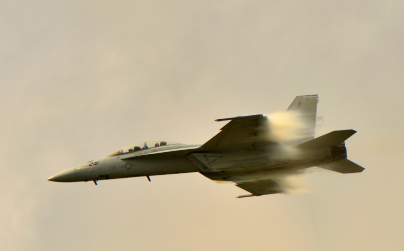 The F-18 Super Hornet 2 jet travels at the speed of sound