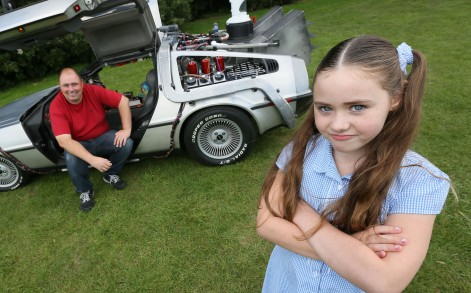 Eight-year-old Molly Wickenden rides to school every day in an exact replica of the famous time-travelling motor.
