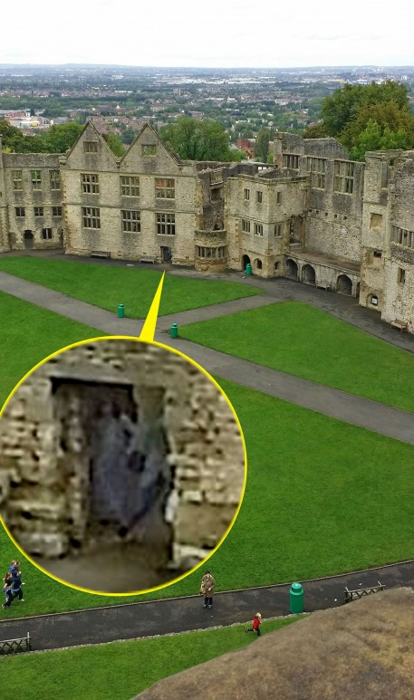 The spooky spirit was spotted lurking in a doorway at Dudley Castle
