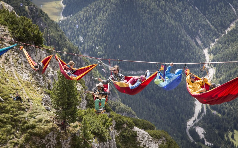 Hanging around: at 150ft high, the highliners suspended their hammocks in mid air