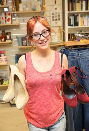 Ashleigh Healy with Diane von Furstenberg shoes which were on sale for just £50