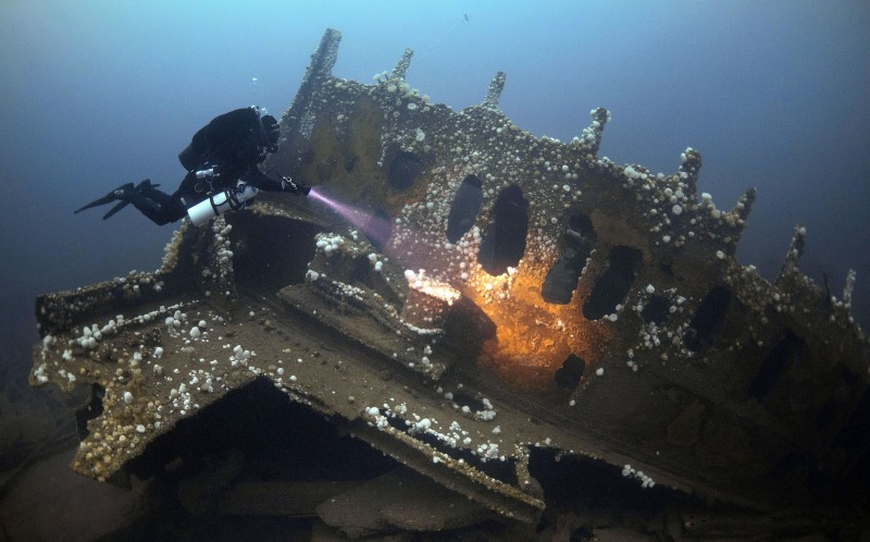 The wrecks shown in the pictures include HMS Audacious, SS Justicia, SS Laurentic and Empire Heritage