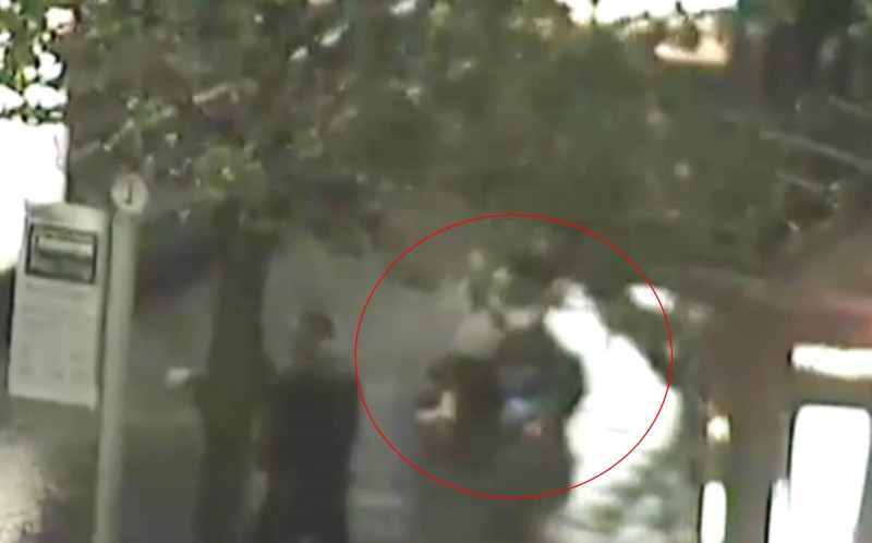 A CCTV operator called police and within two minutes a brave officer can be seen tackling the man to the ground