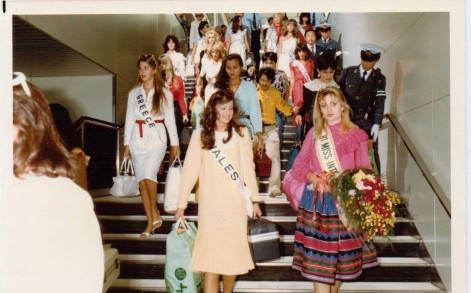 Victoria's mother Caroline is seen here representing Wales in the Miss International beauty pageant in Japan, 1982.