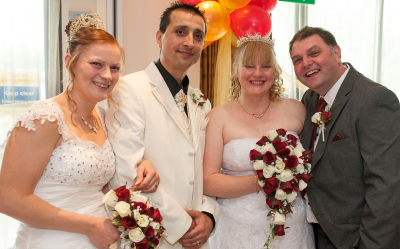 Joint wedding: The two couples sharing the special day