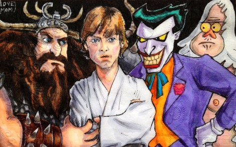 A drawing of Alvin from How to Train Your Dragon, Luke Skywalker and The Joker.