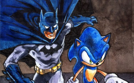 A napkin with Batman and Sonic drawn onto it.