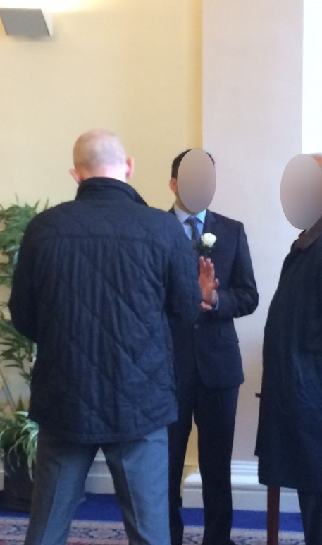 The groom being questioned by police.