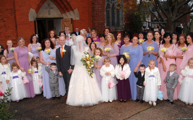Jayne and Shaun Lawrence got married with the help of a whopping 44 bridesmaids