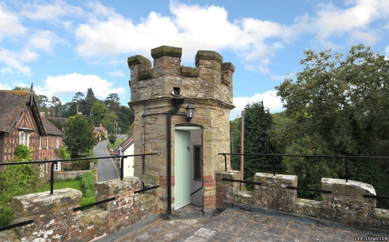 The two bedroom property in the village of Upper Arley, Worcestershire even has its own turret