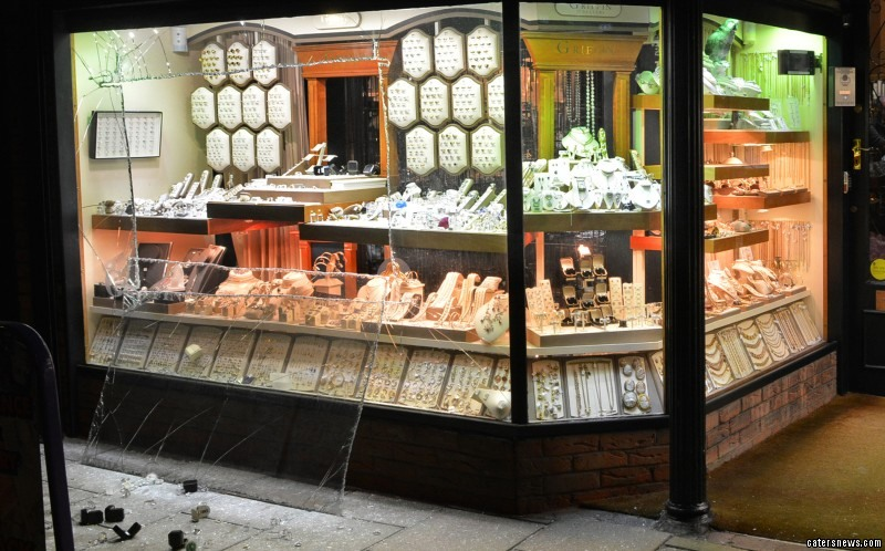 Thieves sliced through the glass at the jewellers in Bridlington, East Yorks