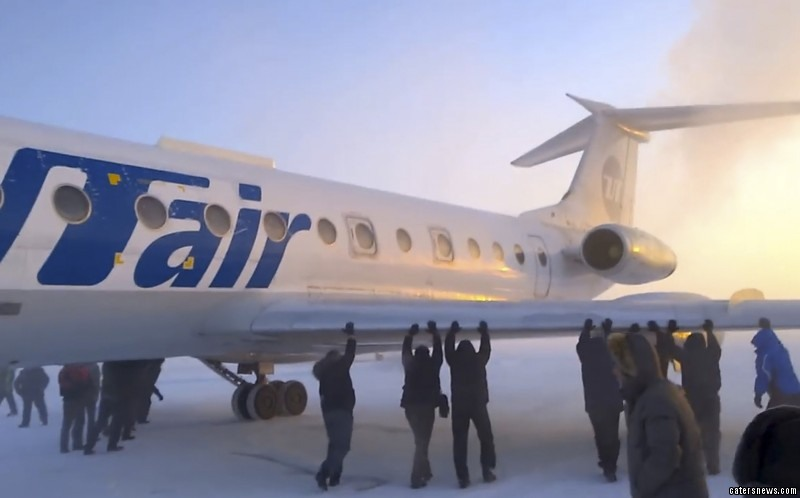 Plummeting temperatures of minus 52C left the aircraft frozen to the runway