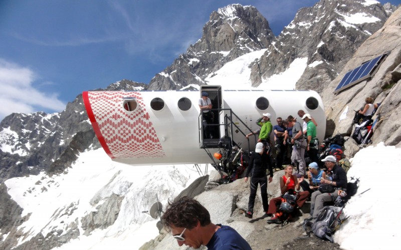 The shelter is located high in the Italian alps, 2,835 metres above sea level