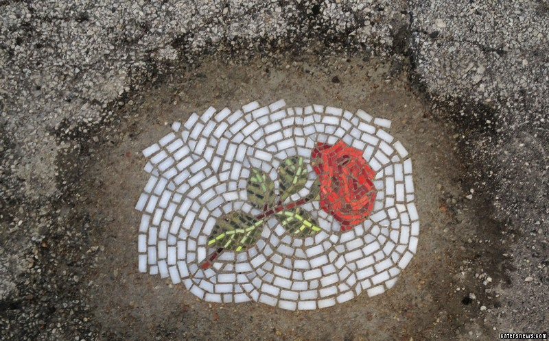 Jim Bachor transforms potholes into amazing flower mosaics