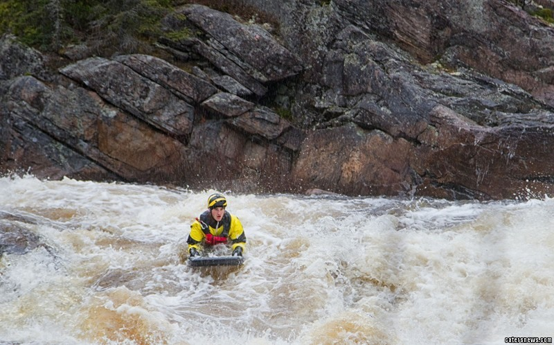 Thomas Paterson, 22 spotted the furry animal stranded on a rock while travelling down stream on his board in Ottawa, Canada