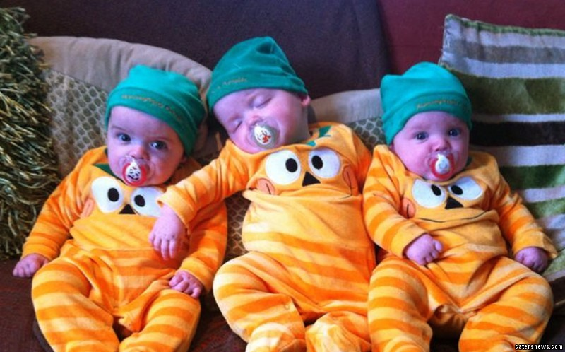 Christie Fletcher, 22,  gave birth to rare non-identical triplets - while taking the pill