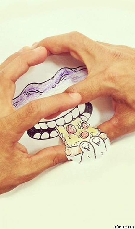 The 31-year-old designer manipulated his hands to create the faces of the Teenage Mutant Ninja Turtles