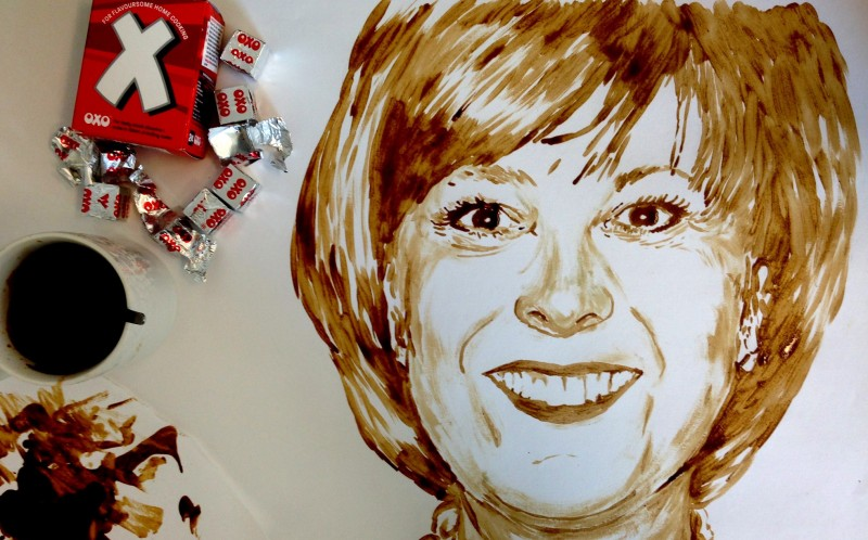 Nathan Wyburn, 25, has created a stunning portrait of the late Lynda Bellingham, entirely out of Oxo Cubes