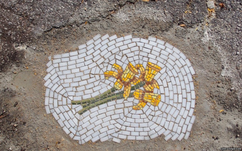 "John, from Chicago, Illinois, USA, said:  ""Installing a nicely rendered mosaic of a flower in an otherwise unsightly pockmark in the road I hope would put a little smile on someone's face."""