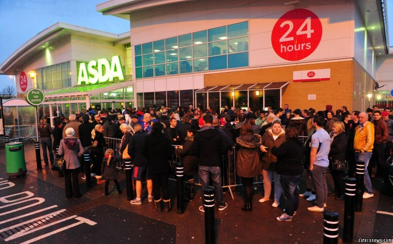 Black Friday at Asda Kingswood, pictured is shoppers queueing for the store to open