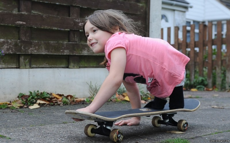 Seven-year-old Rosie Davies can be seen skating by her home in Walsall, West Midlands, every day