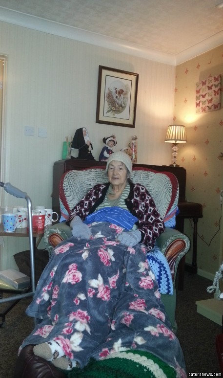 Peggy Morgan, 80 was discharged from hospital with a tube still stuck in her arm