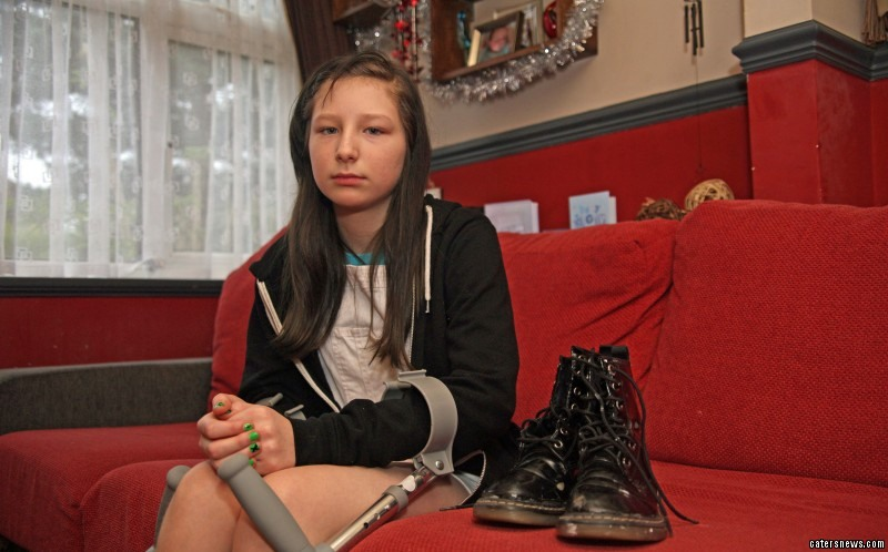 Doctors told her that if she hadn't been wearing her favourite pair of Doc Martens, she would have lost her foot