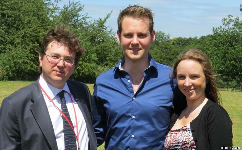 Andrew Britton with wife Lauren and surgeon Mr Fabio De Robertis