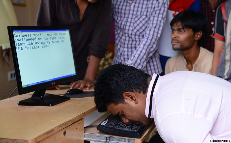 Mohammed Khursheed Hussain holds an unusual record - for typing with his nose