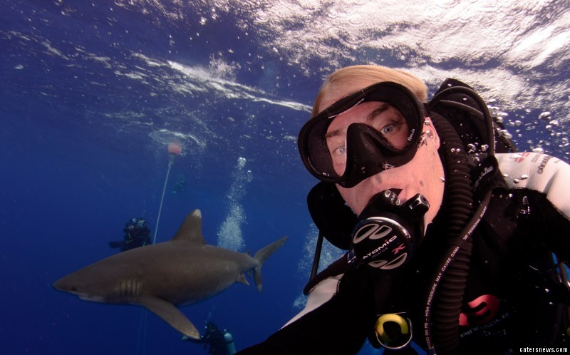 The divers wore protective chainmail suits designed to prevent sharks' teeth from piercing the skin