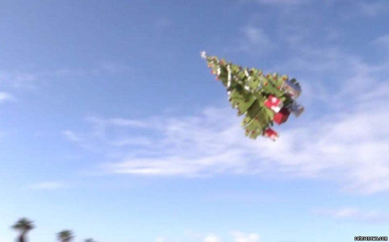 A drone engineer has built a flying Christmas tree