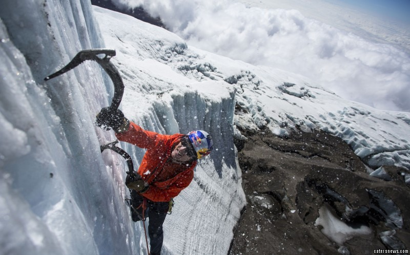 The climber hiked for a week to reach the remote precipice on Mt Kilimanjaro