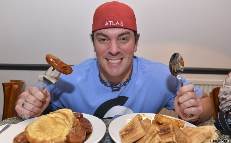 Randy Santel wolfed down a whopping 4,500 calorie meal in under 12 minutes