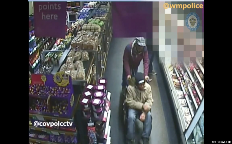 The crafty couple were caught on CCTV with one pushing the other round in a disability chair