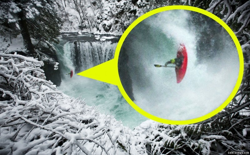 Adrenaline junkie Todd can be seen plunging 30ft from the top of a ferocious icy waterfall