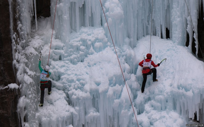Climbers battling it out at the Ouray Ice Festival