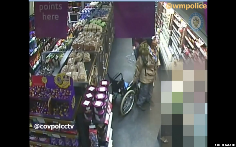 The woman is caught standing up and walks around unaided while grabbing packaged meat and putting it in her rucksack