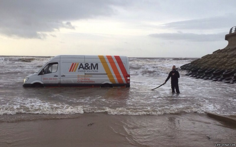 James Grayson got his van stuck on the beach during his lunch break