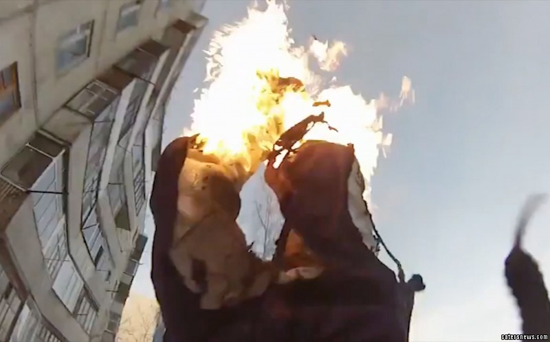 Using a GoPro the amateur stunt man filmed the whole stunt on camera