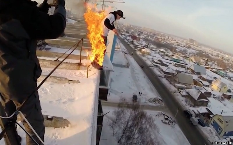 Alexander Chernikov hurled himself off a building while on fire but lived to tell the tale