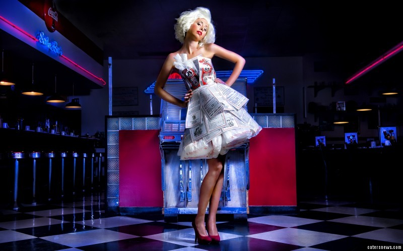 Their unique range includes a playing card cocktail dress and a floor-length gown made using old magazines