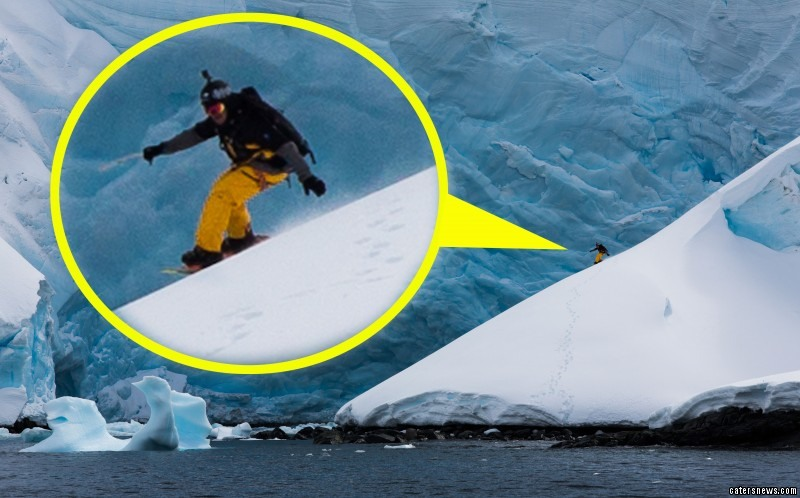 Amazing Ski Down Iceberg