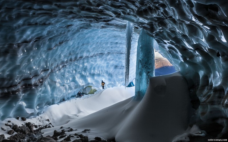 The structure of glacial caves is weakened by warm temperatures and surface water melting away the ice