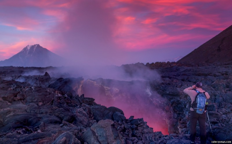 The unseen stream of magma flows just a few hundred metres below the feet of surround tourists