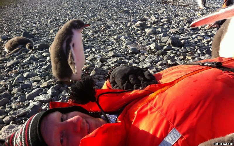 Joel Oleson was on a work trip to Antarctica when he was approached by the baby penguin