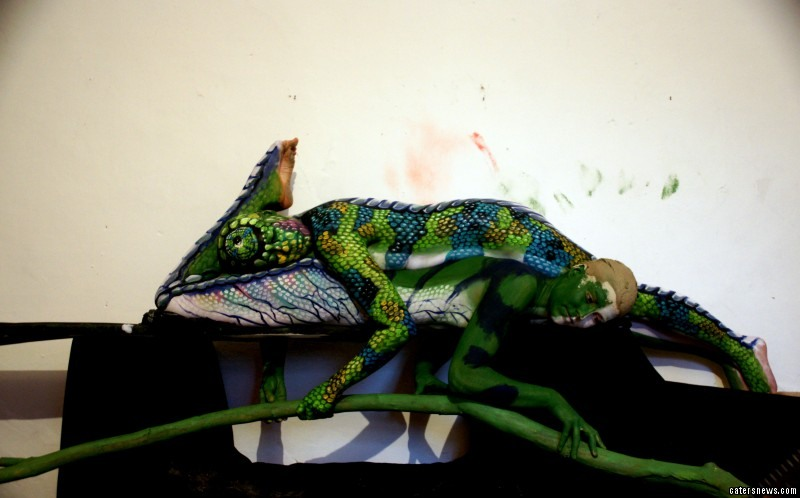 Incredible Body Art That Looks Like A Chameleon But Is Actually Two Painted Women Caters News Agency